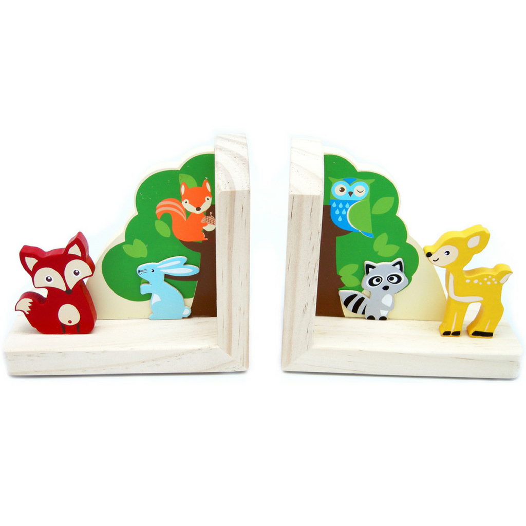 kaper kidz wooden bookends forest animal design