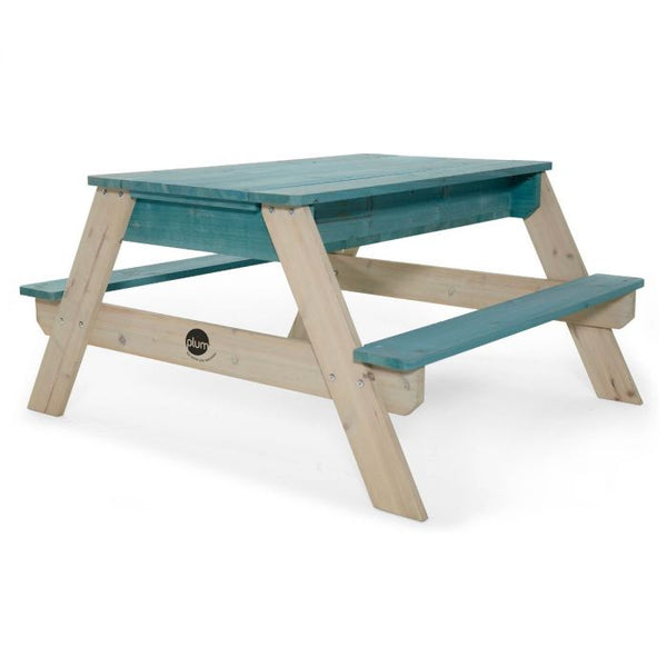 PLUM® SURFSIDE WOODEN SAND & WATER PICNIC TABLE - TEAL - Salsa and Gigi Australia 01