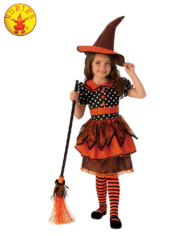 COMING SOON... Polka Dot Witch Girls Orange Costume - Sizes S, M - Salsa and Gigi