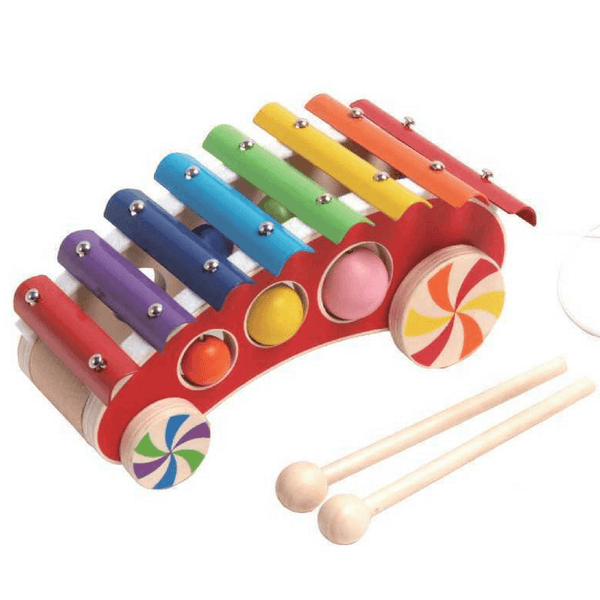 Classic Pull Along Xylophone Glockenspiel for Baby and Toddler - Salsa and Gigi