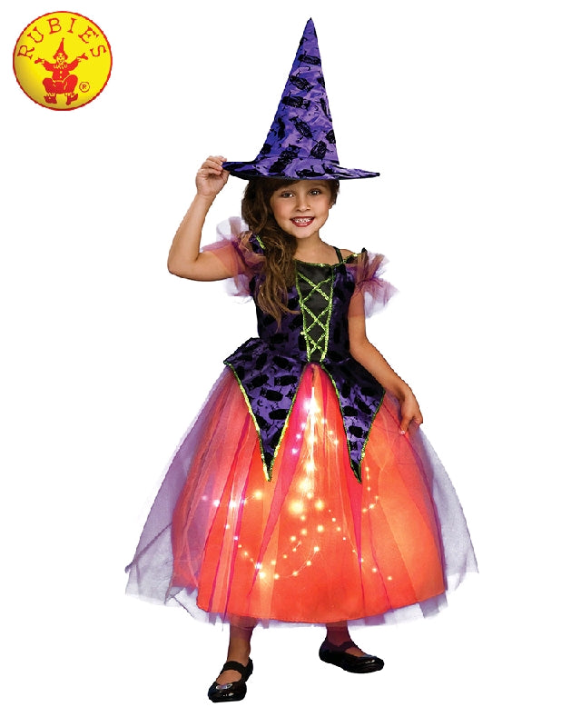 Purple and Orange Light Up Witch Girls Costume - Sizes S, M