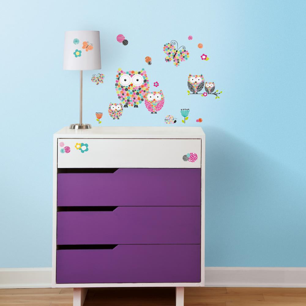 Prisma Owls & Butterflies Peel and StickWall Decals