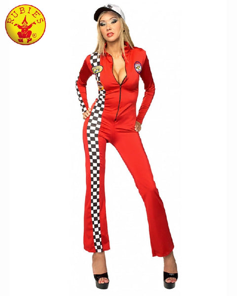 Ladies Red Racer Secret Wishes Long Grid Girl Jumpsuit - Salsa and Gigi