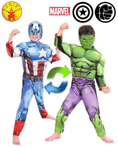 AVENGERS Hulk to Captain America Deluxe Reversible Child - Salsa and Gigi