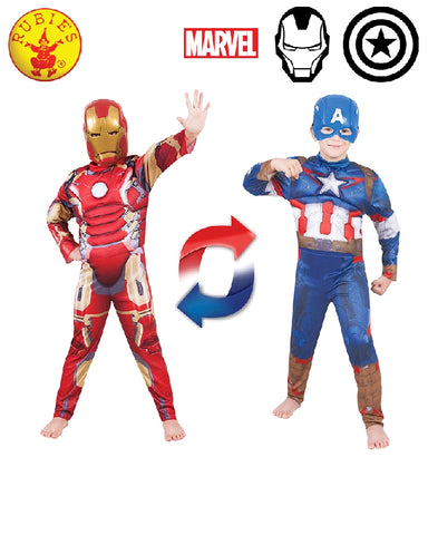AVENGERS Ironman to Captain America Deluxe Boys Reversible Costume - Salsa and Gigi