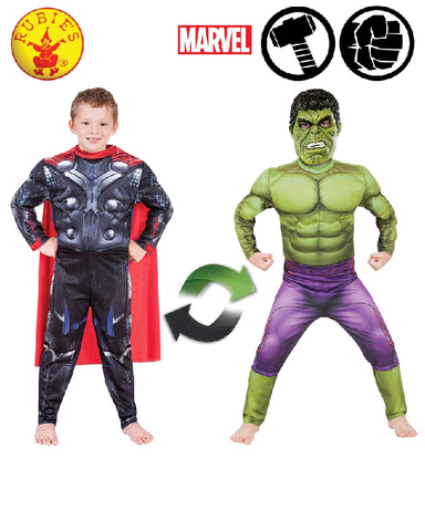 AVENGERS Reversible Thor to Hulk Deluxe Boys Child Costume - Salsa and Gigi