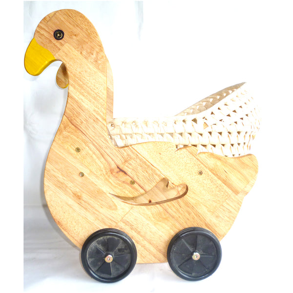 Duckling Doll Pram & Seagrass Basket - Salsa and Gigi