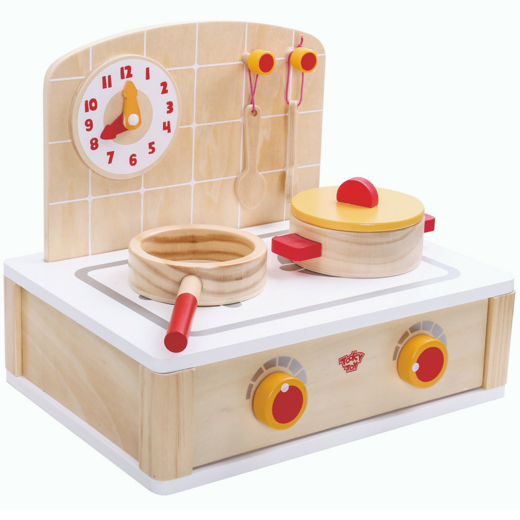 tooky toy kitchen pretend play set stove and clock