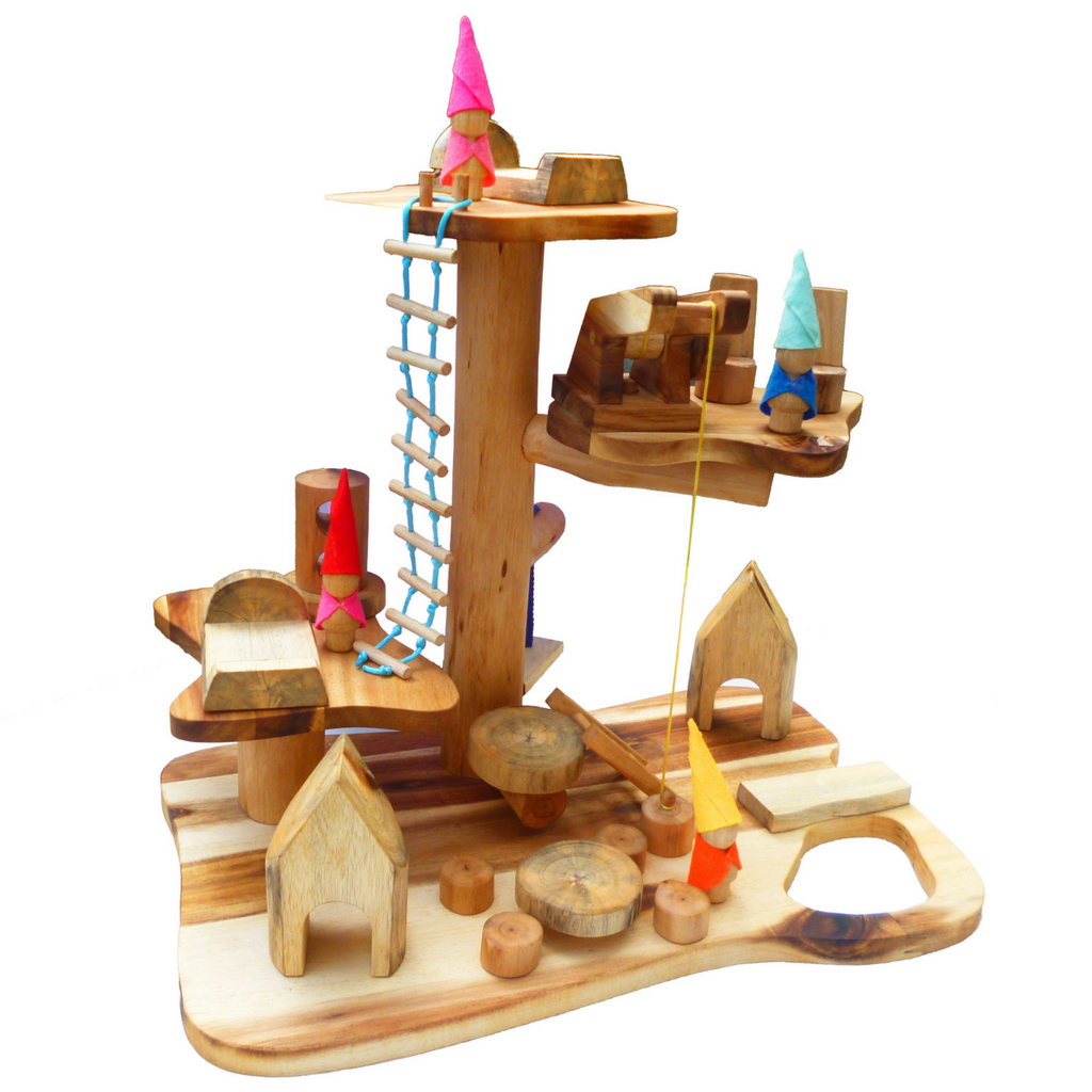 Q Toys wooden pretend play gnome house playset