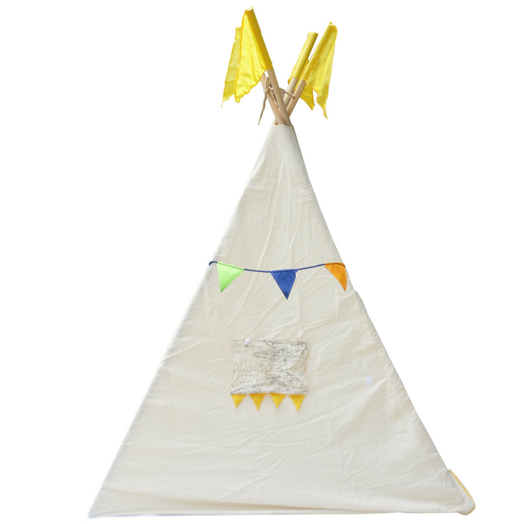 ... Q Toys Teepee tent medium or large indoor and outdoor use colourful  bunting thick cotton windows ...