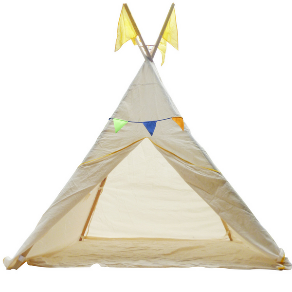 Q Toys Teepee Tent medium or large indoor and outdoor use colourful bunting thick cotton windows on side easy to assemble