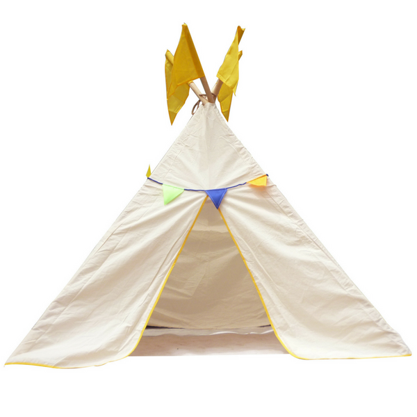 Q Toys tee pee tent medium or large indoor and outdoor use colourful bunting thick cotton windows on side easy to assemble