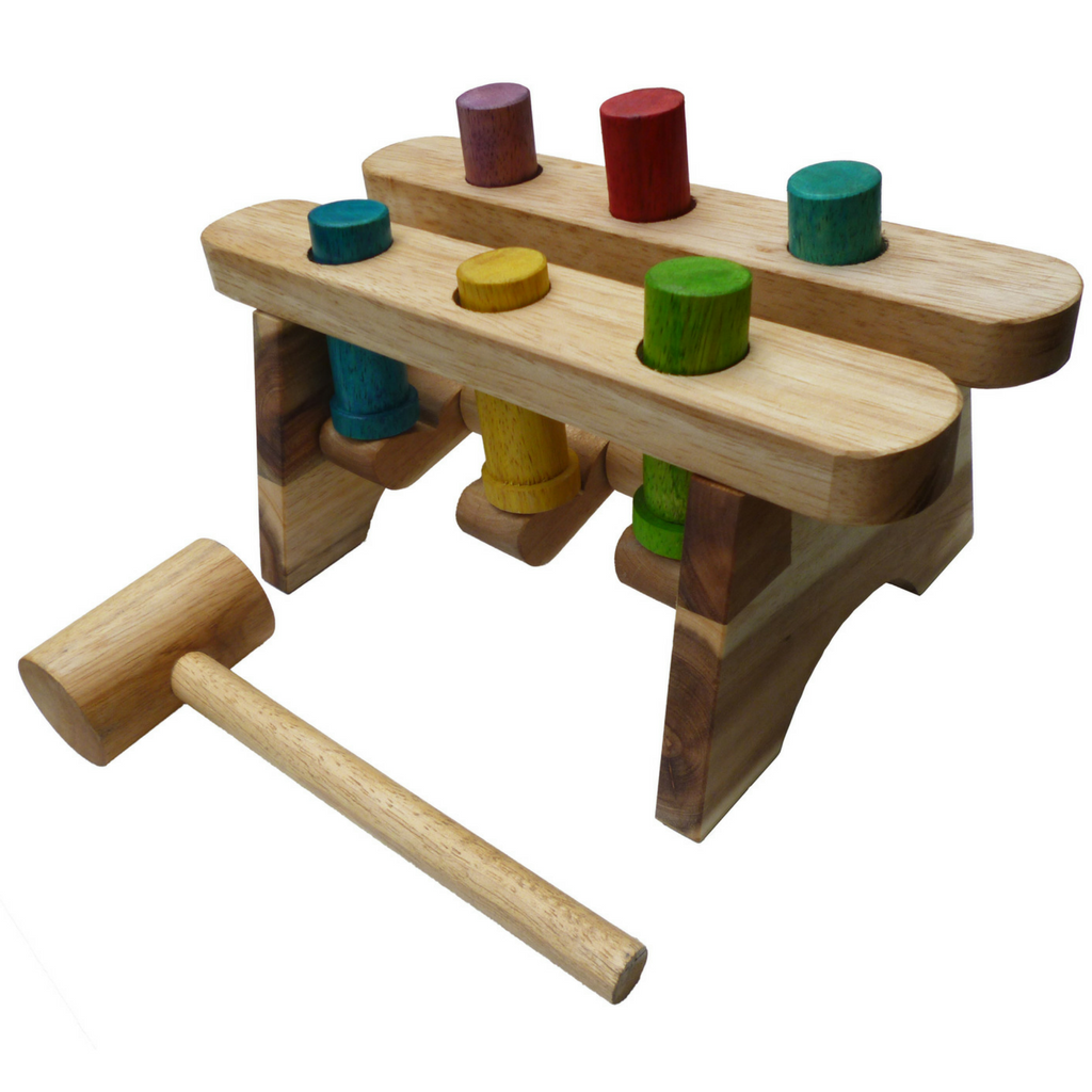 POUND A PEG Classic Wooden Hammer Game - Salsa and Gigi