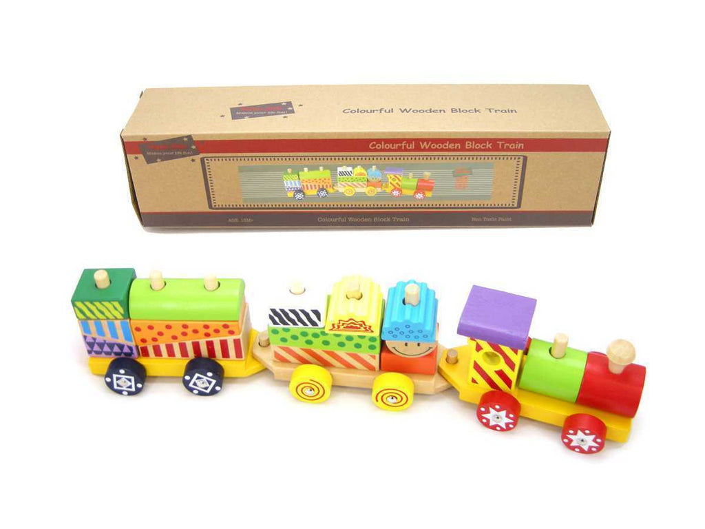 Colourful Wooden Block Train - Salsa and Gigi
