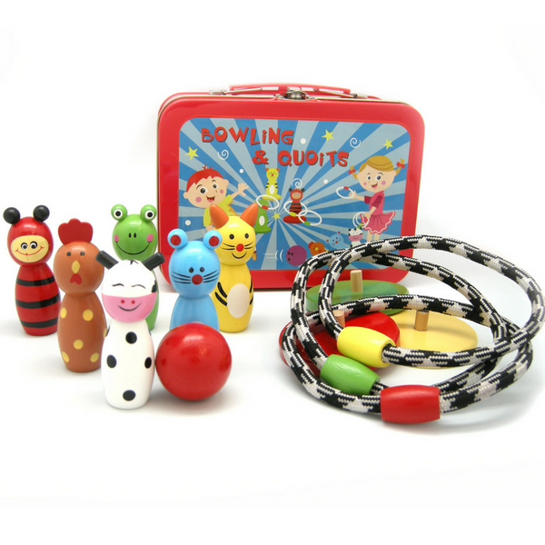 Bowling and Quoits Ring Set in Classic Tin Carry Case - Salsa and Gigi