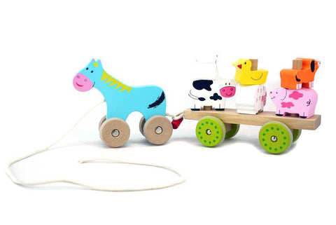 Pull Along Farm Animal Cart - Salsa and Gigi Online Store