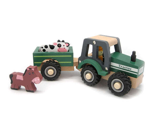 Green Tractor with Animals - Salsa and Gigi