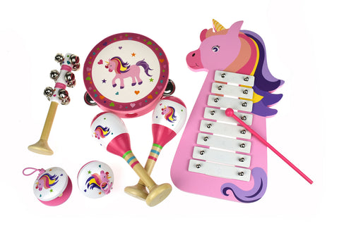 Wooden Unicorn 7 Piece Toddler Musical Instrument Set - Salsa and Gigi Australia MI079U 01