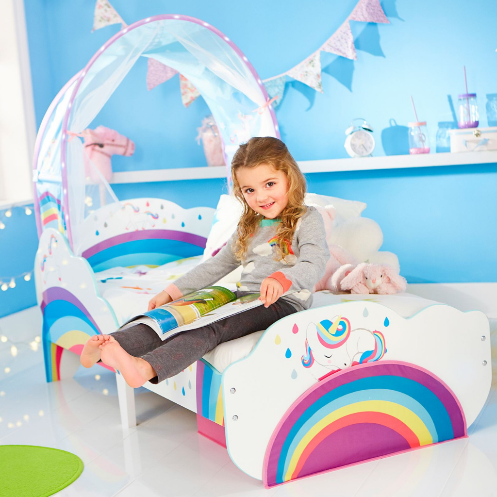 Unicorn and Rainbow Kids Toddler Bed with Canopy and Storage Drawer by HelloHome - Salsa and Gigi Australia