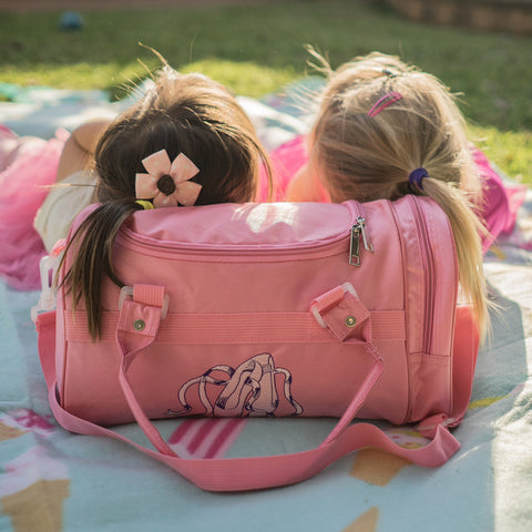 pink ballet bag for toddlers with ballerina shoes
