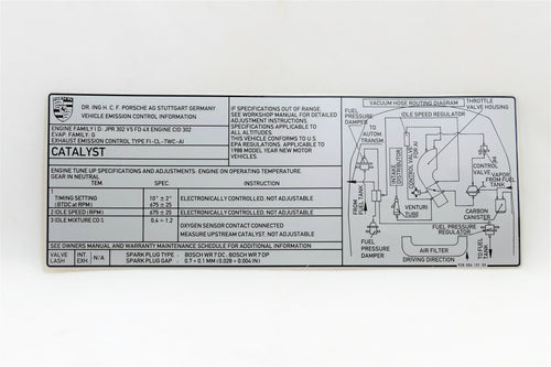 A decal of engine specifications for Porsche 928s.