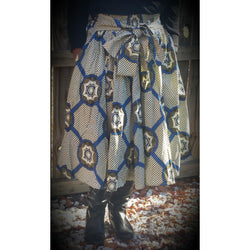 Blue African Wax Print Skirt - Kkunda