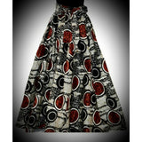 Red and black African Wax Print High Waist Skirt - Kkunda
