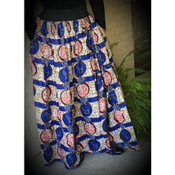 Blue African Wax Print High Waist Skirt - Kkunda