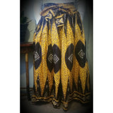 Yellow and brown African Wax Print High Waist Skirt - Kkunda