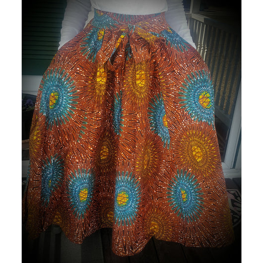 Orange and rust African Wax Print High Waist Skirt - Kkunda