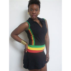 Black Mini Cheerleader Rasta dress - Kkunda
