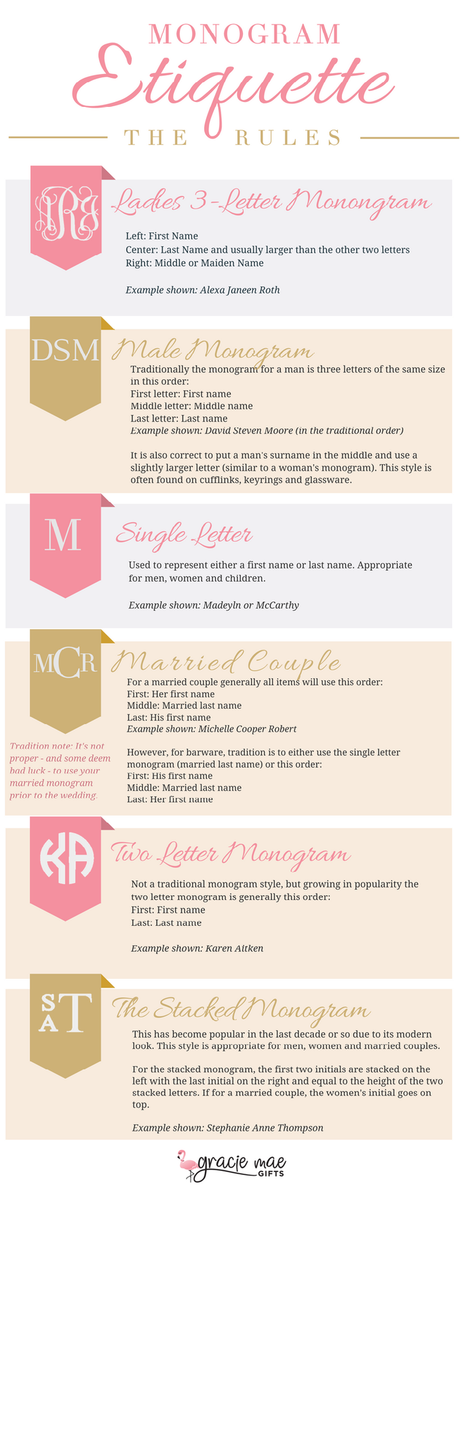 monogram etiquette, monogramming rules, gracie mae gifts