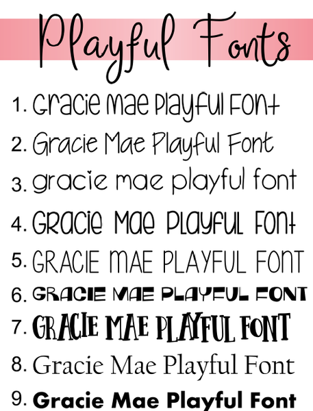 Gracie Mae Gifts playful fonts can be used for many personalization options and custom designs