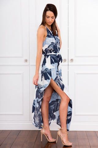 Blake Blue Leaf Maxi Dress