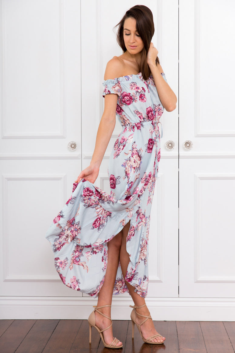 Janice Off the Shoulder Blue Floral Maxi Dress