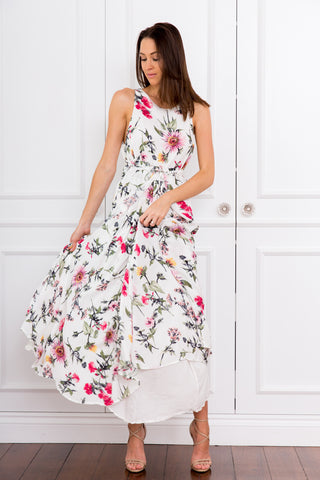 Bec Natural Pink Floral Maxi Dress