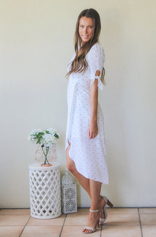 Kathryn Cap Sleeved White Polka Dot Dress