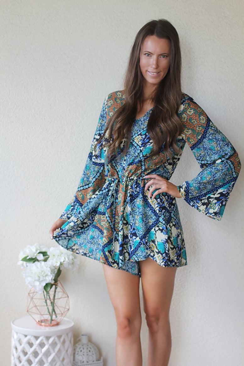 Chloe Teal Boho Playsuit