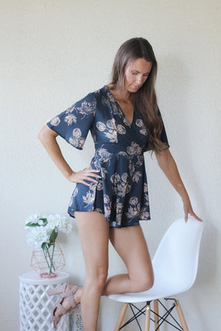 Rhani Navy Autumn Floral Playsuit