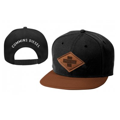 Cummins Diesel Black/Leather Flat Peak Cap