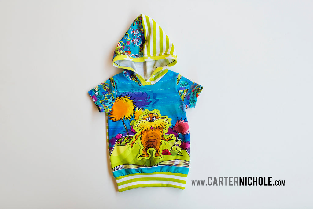 Dr Seuss Inspired Short Sleeved Hoodie The Lorax