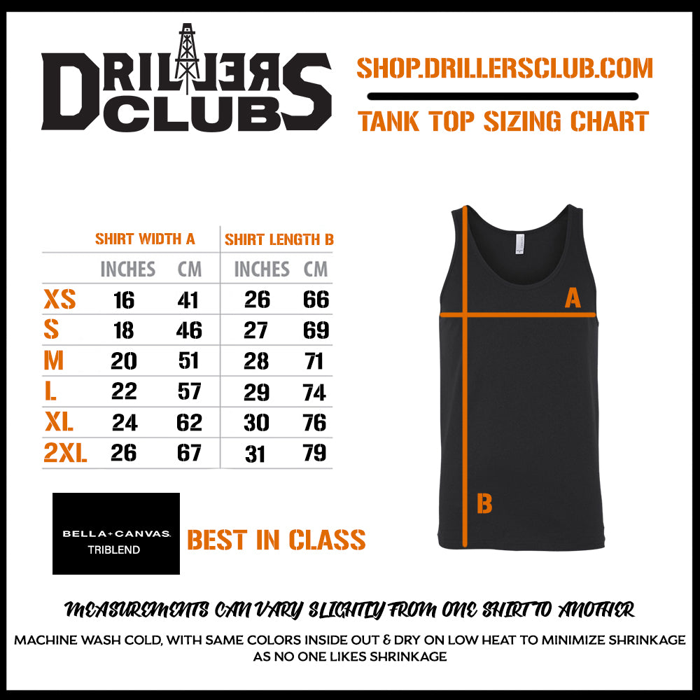 Drillers club tank tee size chart
