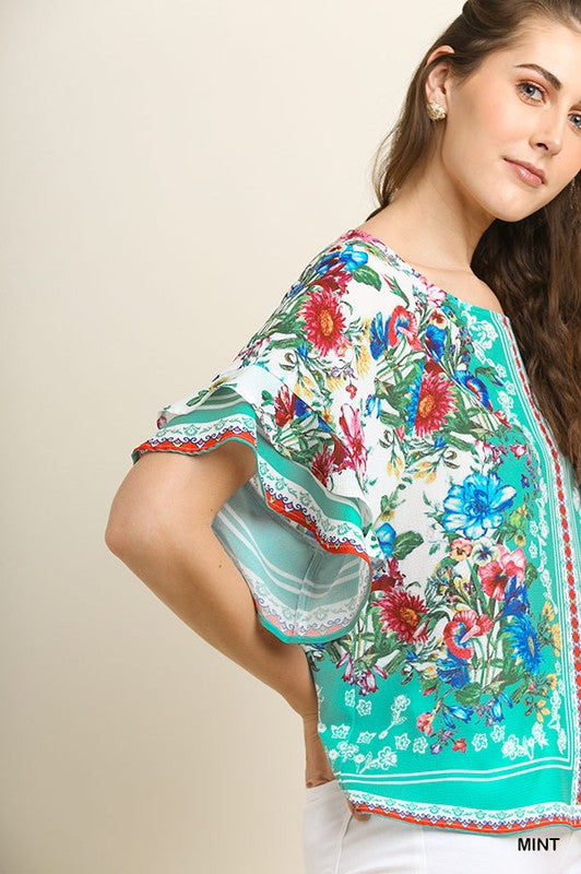 5e4641e8f Floral Scarf Print Layered Sleeve Top – Wind Song Mercantile