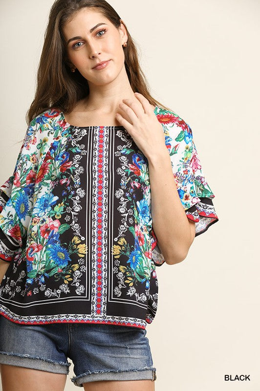 Floral Scarf Print Layered Sleeve Top