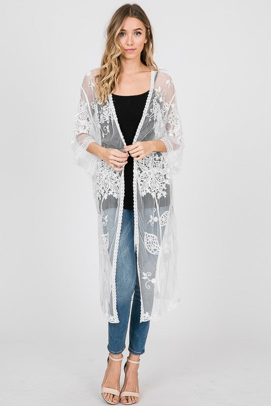 aea5603c6 Ivory Floral Lace Kimono Cardigan – Wind Song Mercantile