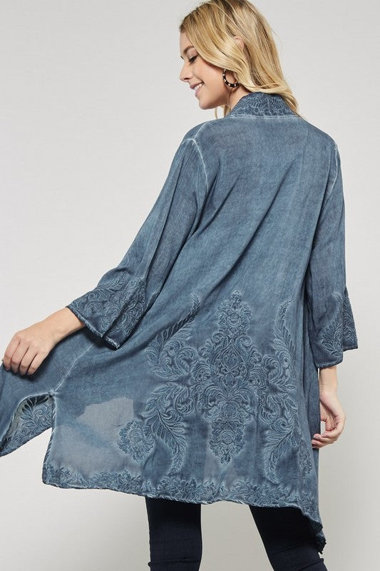 ca89f85cc Wash Dye Embroidered Kimono – Wind Song Mercantile