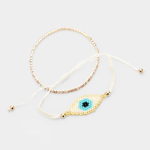 Beaded Eye Crystal Bracelet