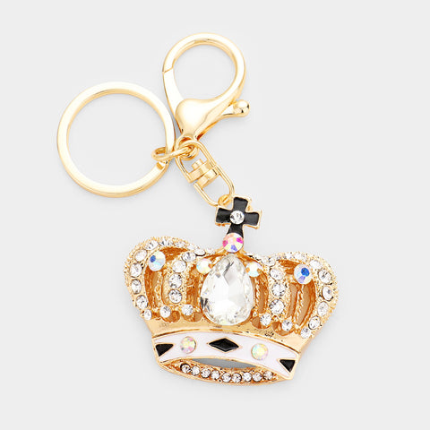 Gold AB Crystal Crown Keychain with White & Black Enamel - iBESTEST.com
