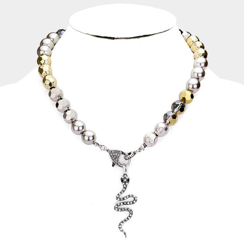 Crystal Snake Pearl Necklace - iBESTEST.com