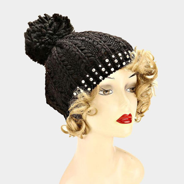 Embellished Black Beanie Hat - iBESTEST.com